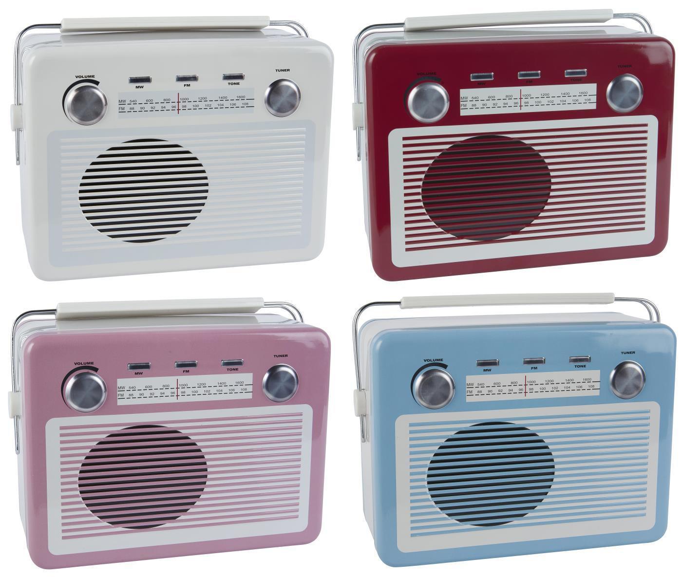 IB LAURSEN Plechová dóza Retro Radio Lunch box - 4 druhy Bílá, multi barva, kov