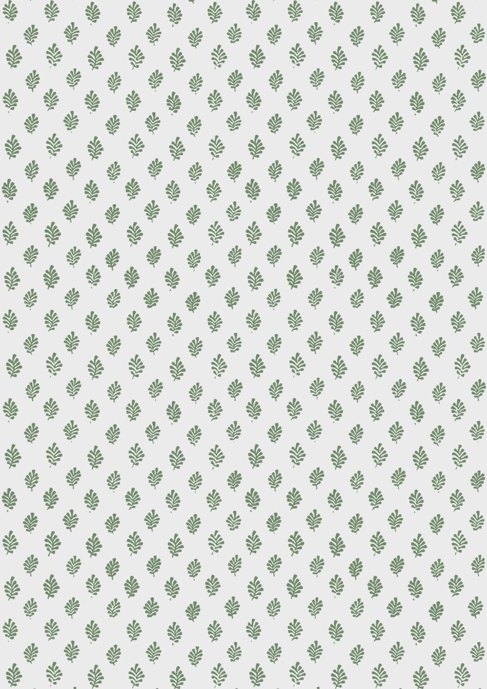 IB LAURSEN Dárkový balící papír Green Leaves 10 m, zelená barva, bílá barva, papír