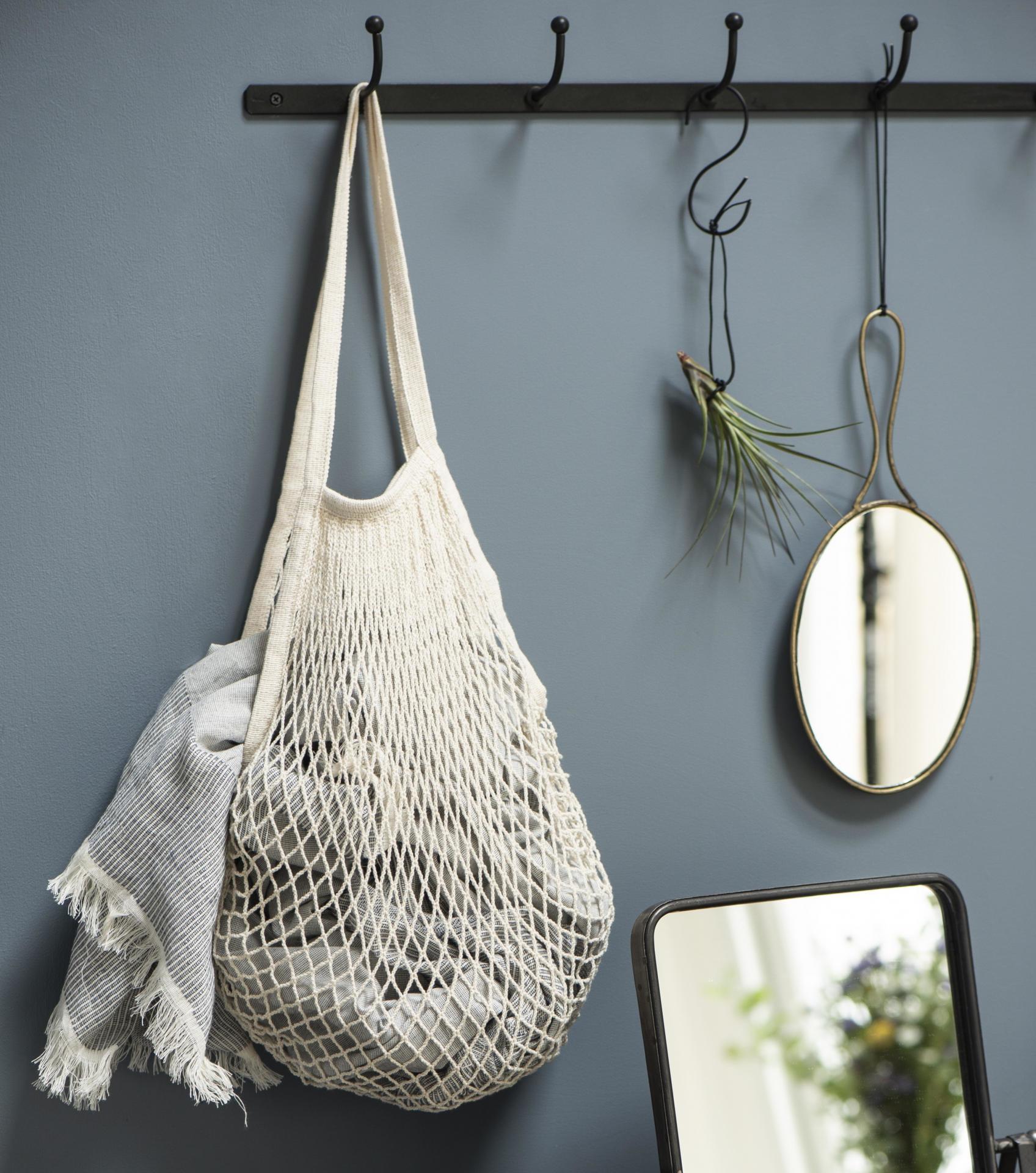 IB LAURSEN Nákupní taška síťovka 4 barvy Růžová, růžová barva, modrá barva, šedá barva, bílá barva, textil