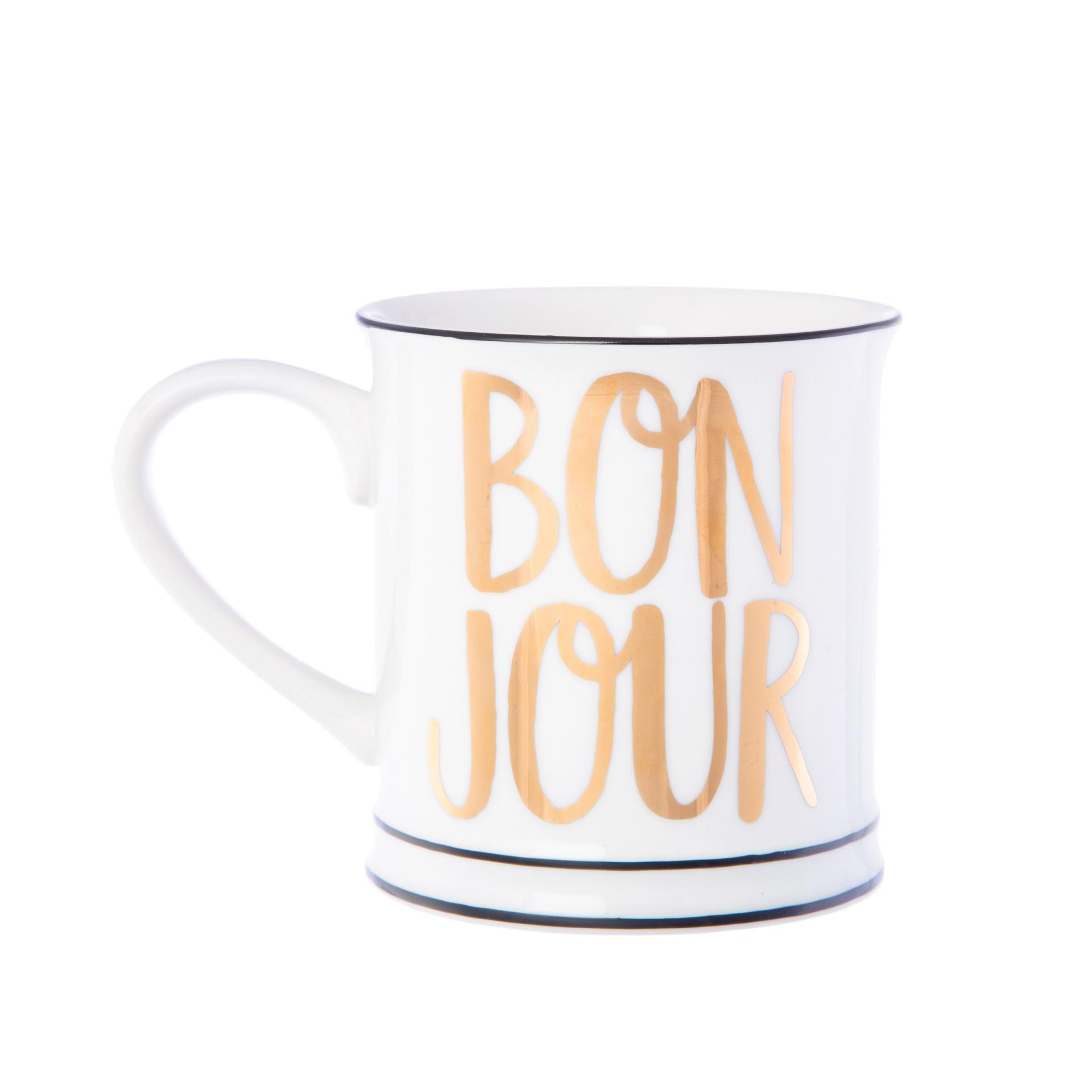 sass & belle Porcelánový hrnek Bon Jour, bílá barva, zlatá barva, porcelán