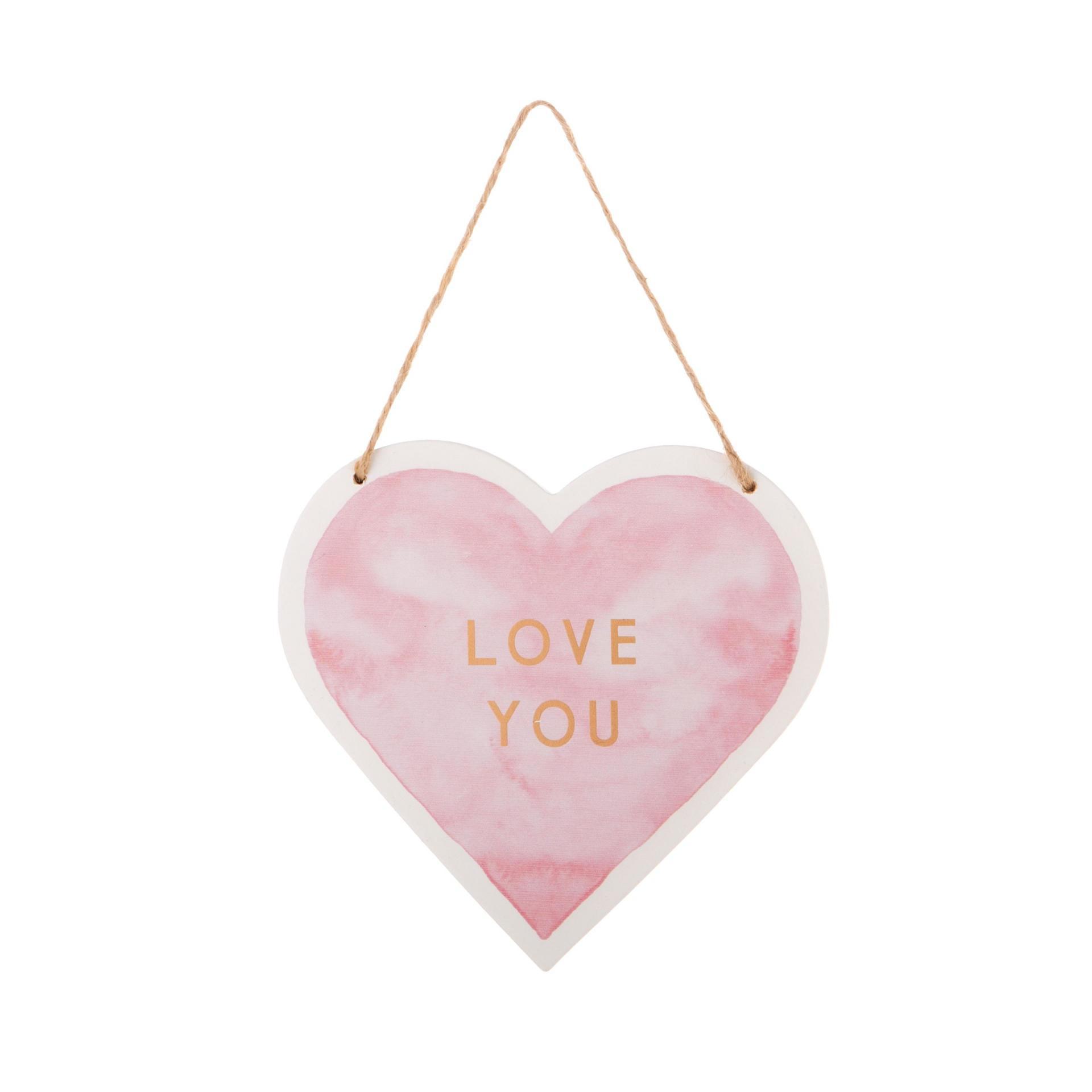 sass & belle Závěsná dekorace Love You, růžová barva, bílá barva, dřevotříska