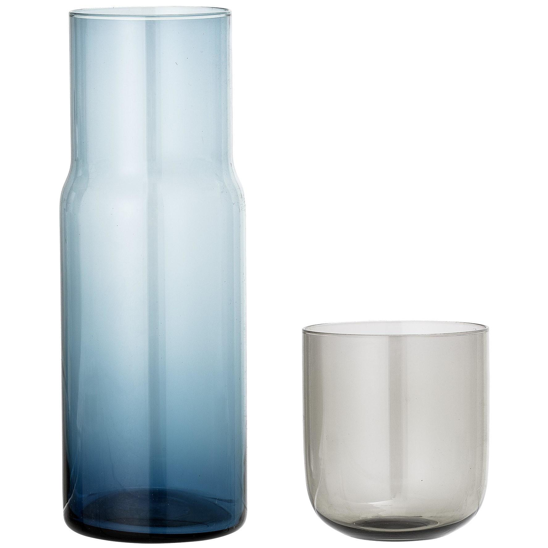 Bloomingville Skleněná karafa se sklenicí Decanter & Glass, modrá barva, šedá barva, sklo