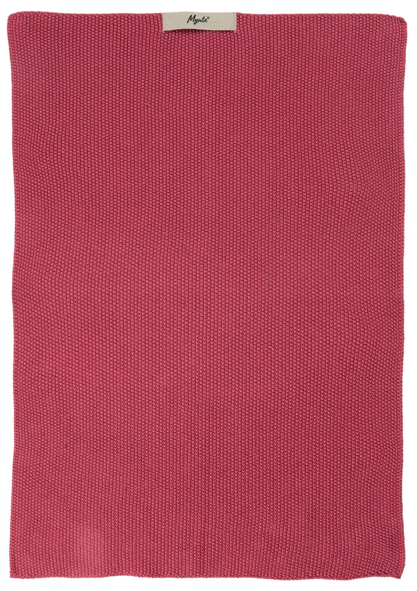 IB LAURSEN Pletená utěrka Mynte Blackberry Parfait, růžová barva, textil
