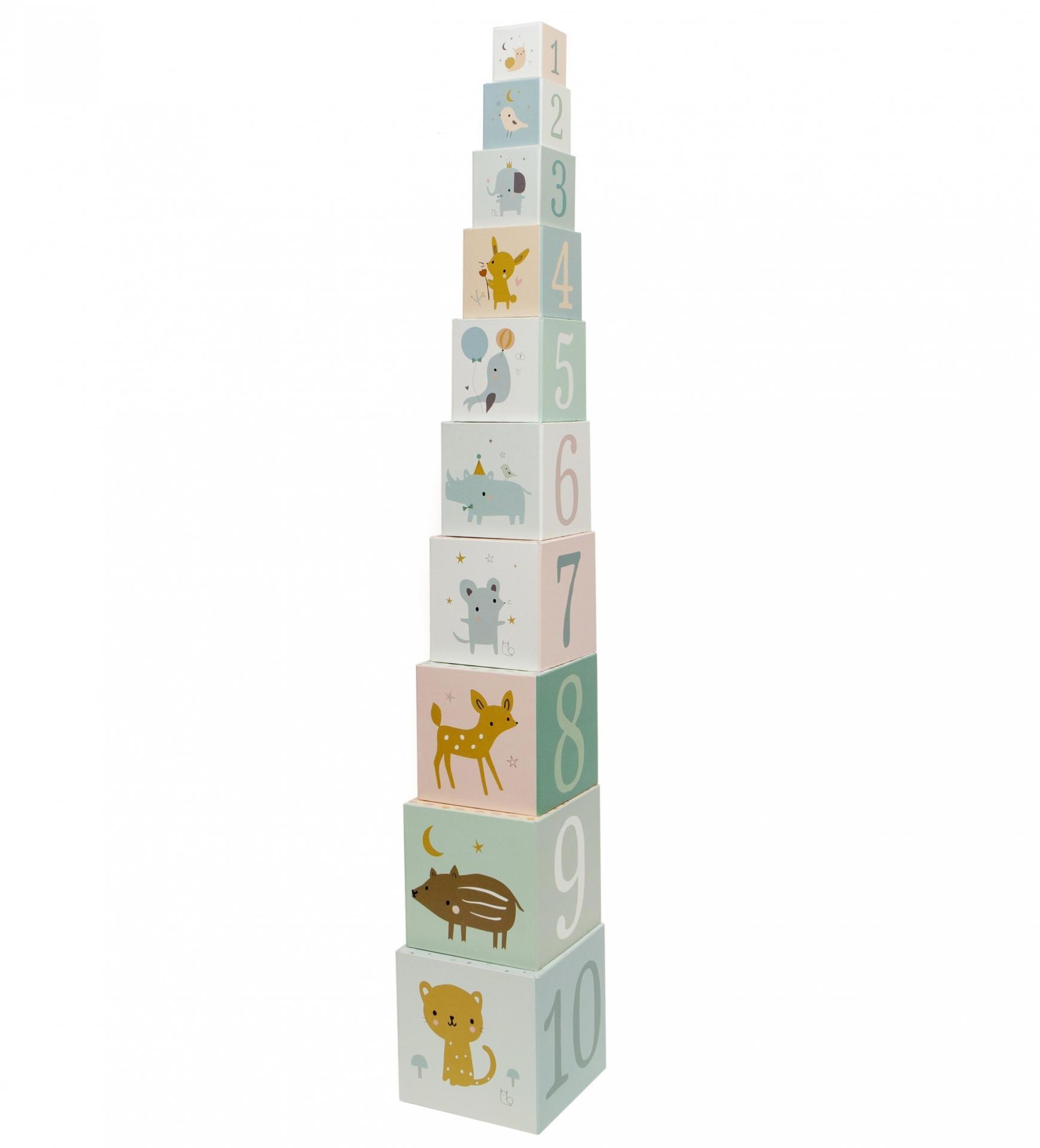 PETIT MONKEY Dětské kostky Stacking Blocks Forest Friends, multi barva, papír