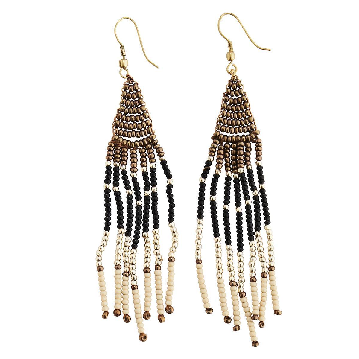 MADAM STOLTZ Korálkové náušnice Beaded Earrings, multi barva, kov