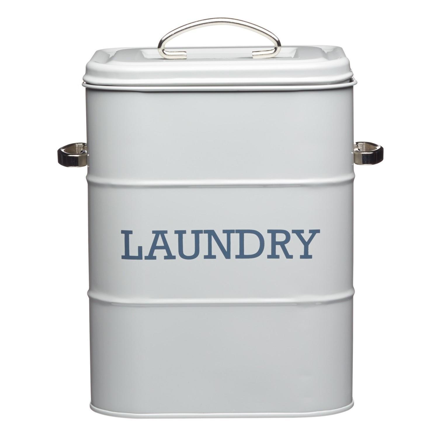 Kitchen Craft Plechová dóza na prací prášek Laundry Tin, šedá barva, kov