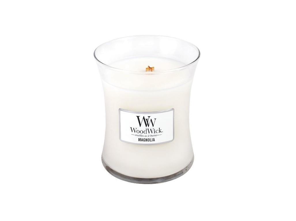 WoodWick Vonná svíčka WoodWick - Magnólie 85g, bílá barva, sklo, vosk