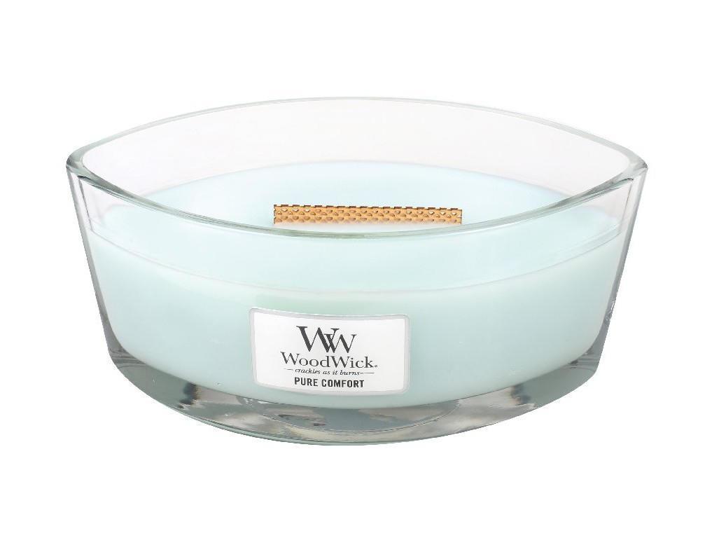 WoodWick Vonná svíčka WoodWick - Pure Comfort 454g, modrá barva, sklo, vosk