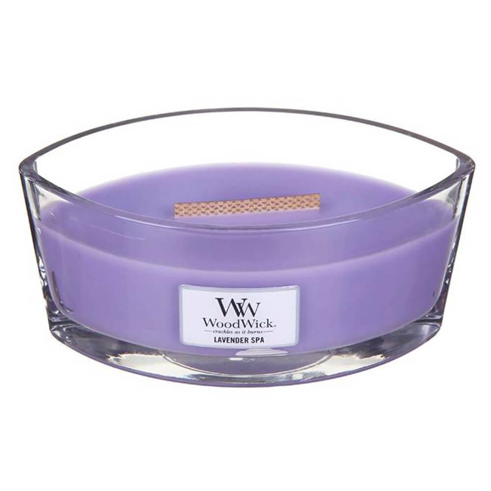 WoodWick Vonná svíčka WoodWick - Lavender Spa 454g, fialová barva, sklo, vosk