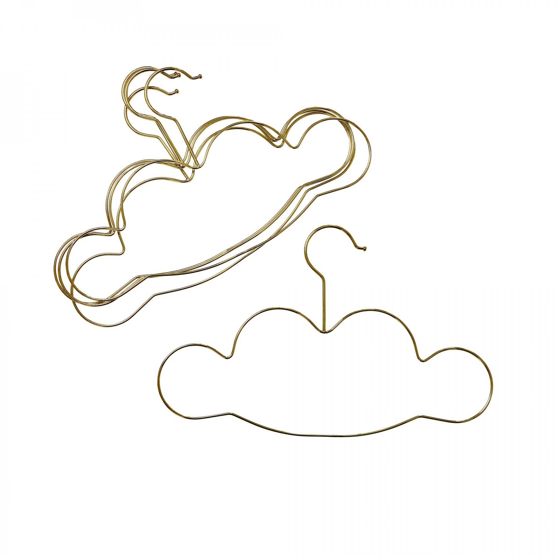 rice Dětské ramínko na šaty Cloud - set 5ks, zlatá barva, kov