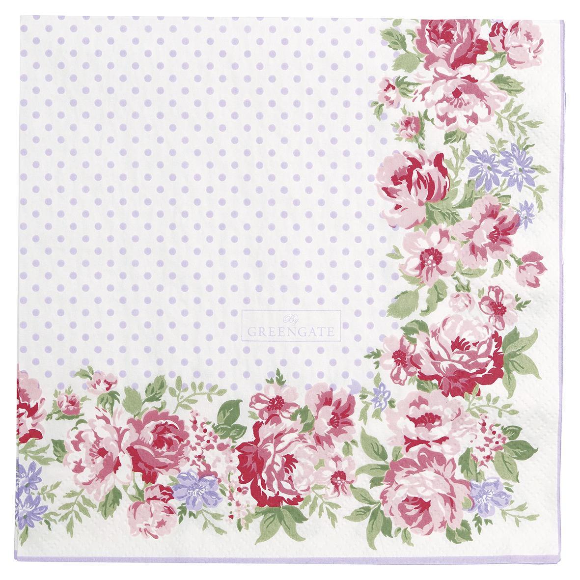 GREEN GATE Papírové ubrousky Rose White, růžová barva, fialová barva, papír