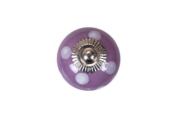 La finesse Porcelánová úchytka lila/white dots - větší, fialová barva, bílá barva, porcelán 40 mm