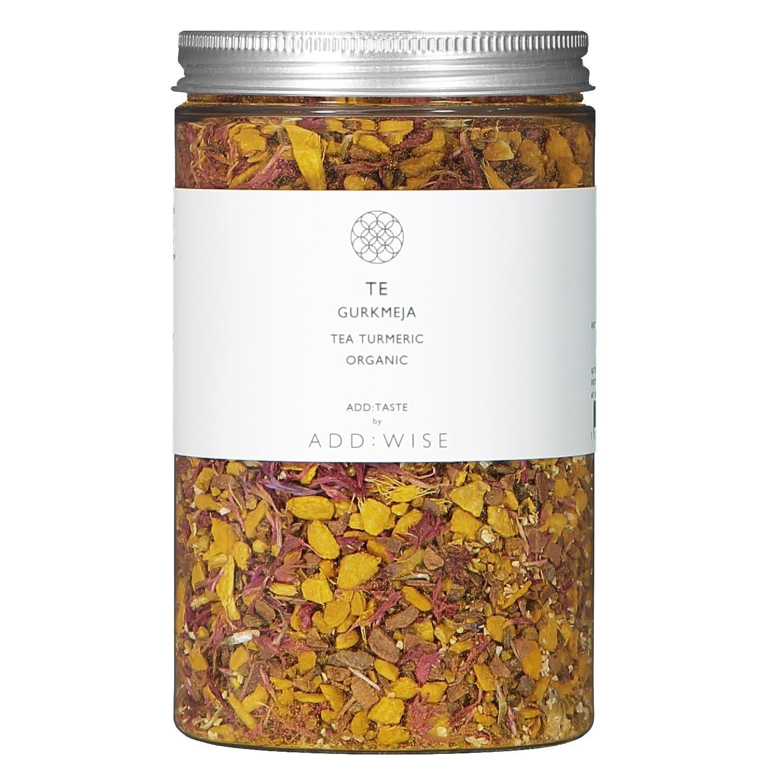ADD:WISE BIO kurkumový čaj Te Gurkmeja 220 g, žlutá barva, stříbrná barva, kov, plast