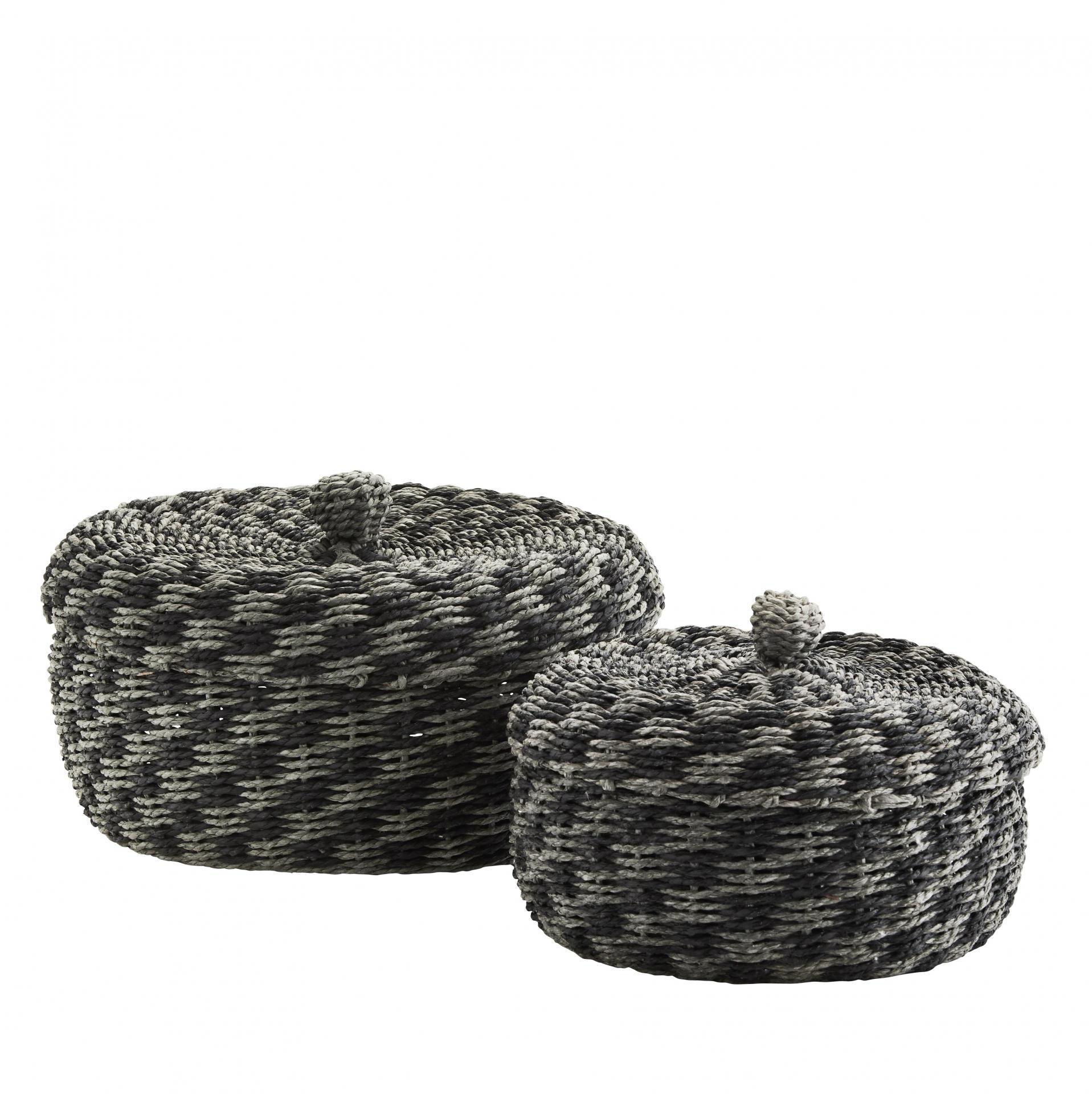 MADAM STOLTZ Proplétaný košík s víkem Black Grey Menší, šedá barva, černá barva, papír