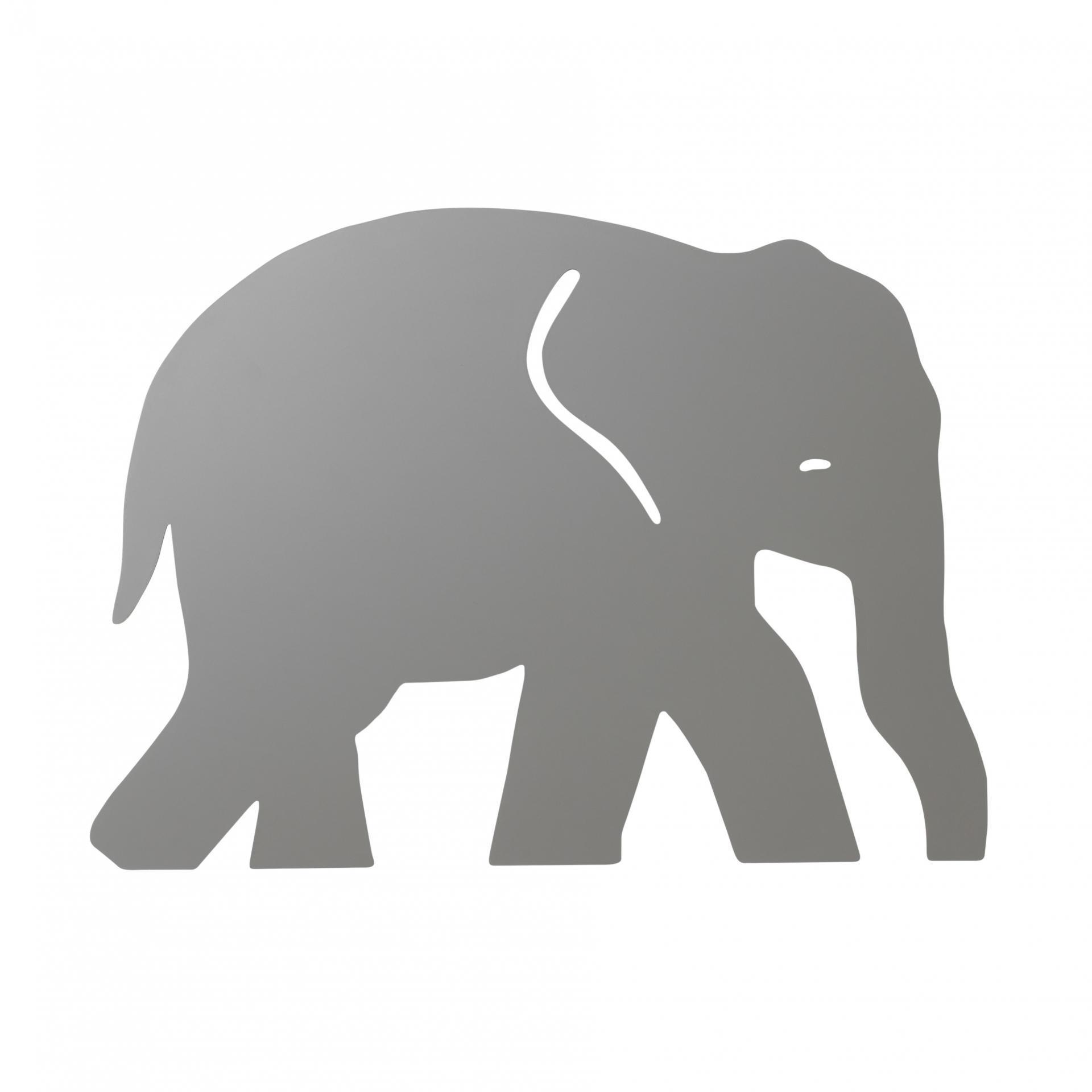 ferm LIVING Dětská lampička Warm Grey Elephant, šedá barva, dřevo, plast