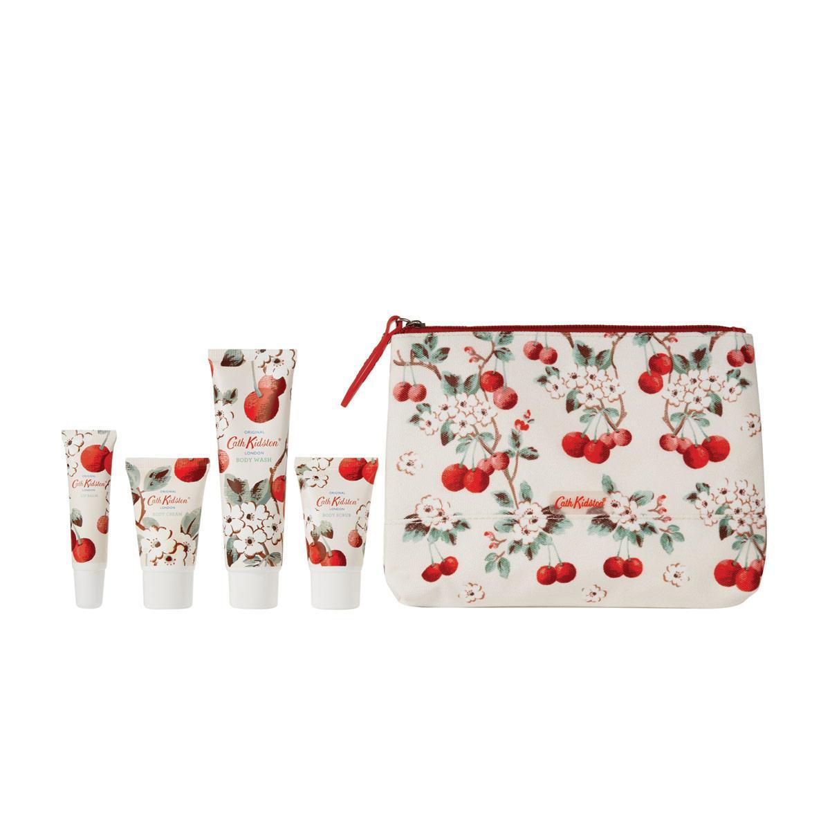 Cath Kidston Sada kosmetiky s péčí o tělo + taštička Cherry Spring, červená barva
