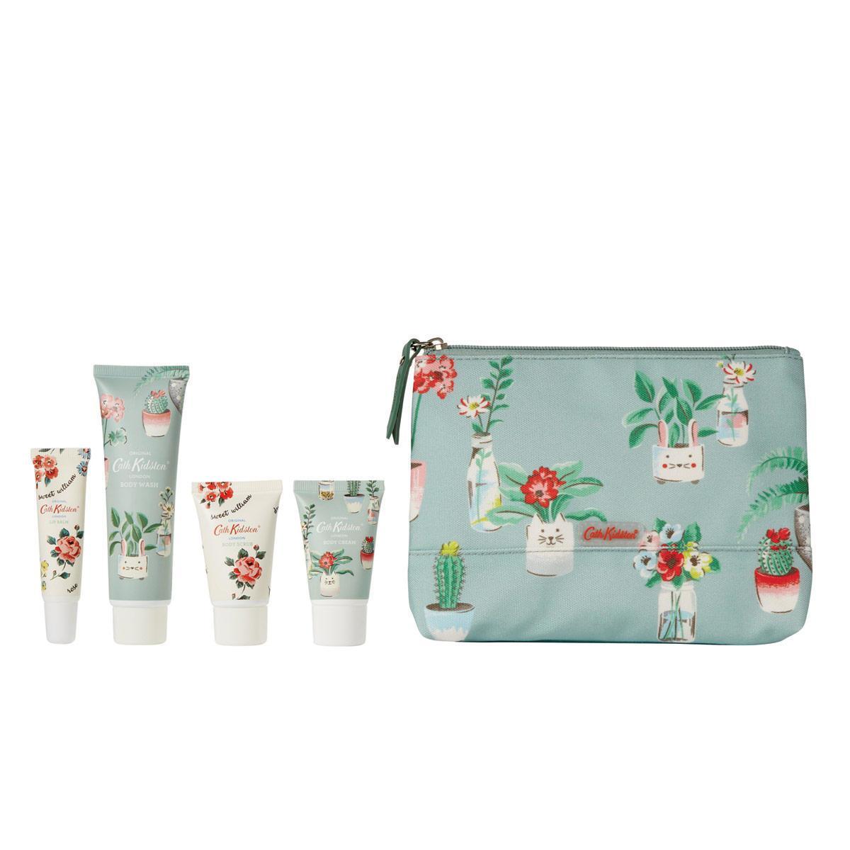 Cath Kidston Sada kosmetiky s péčí o tělo + taštička Plants Pots, zelená barva