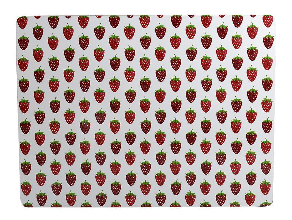 Krasilnikoff Korkové prostírání Strawberry White, červená barva, bílá barva, dřevo, korek