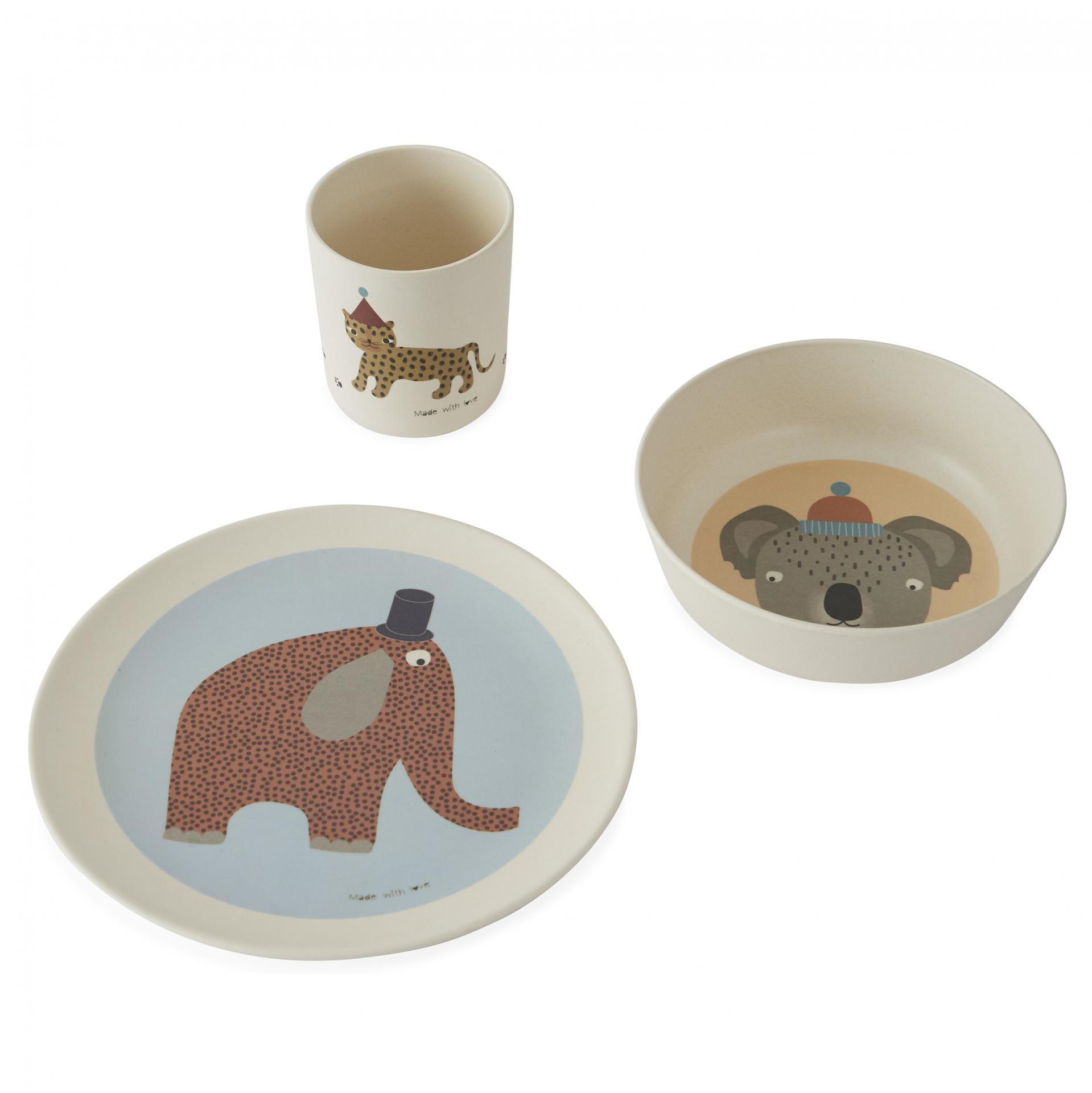 OYOY Bambusové nádobí pro děti Hathi - set 3 ks, béžová barva, multi barva, krémová barva, dřevo, melamin