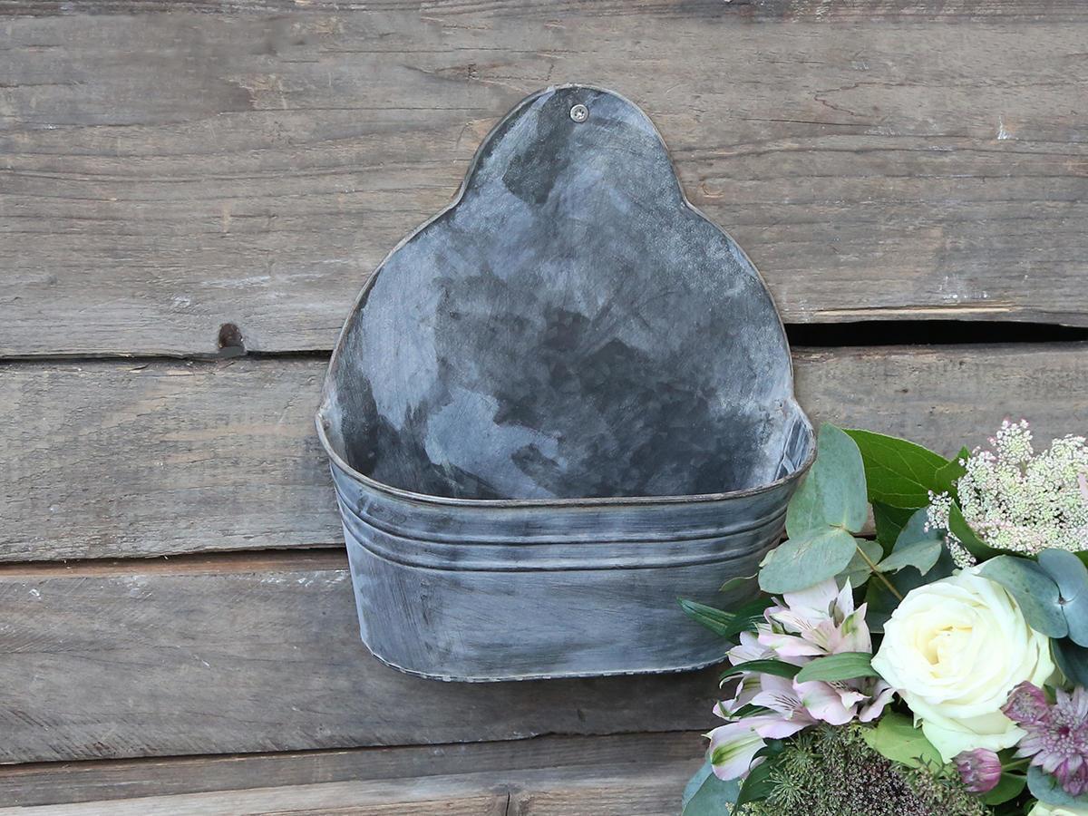 Chic Antique Nástěnný zinkový obal na květiny Antique Zinc, šedá barva, zinek