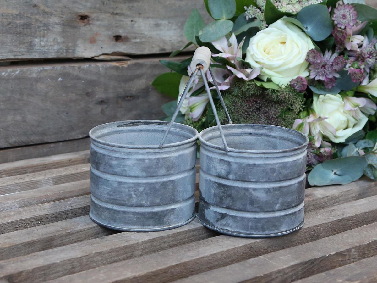 Chic Antique Zinkový stojánek na květiny Antique Zinc, šedá barva, zinek