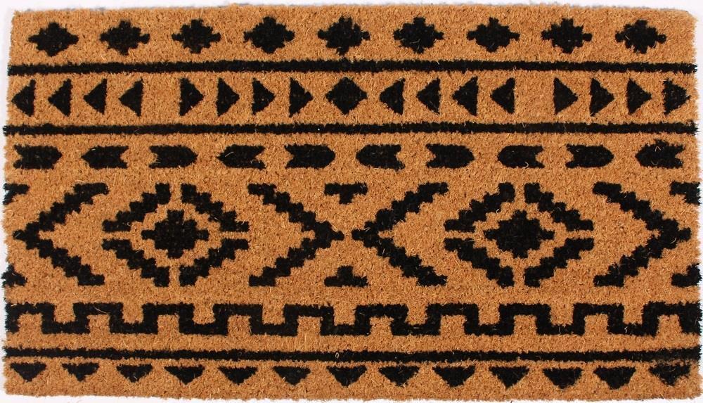 La finesse Kokosová rohožka Aztec Pattern, černá barva, přírodní barva, plast, proutí
