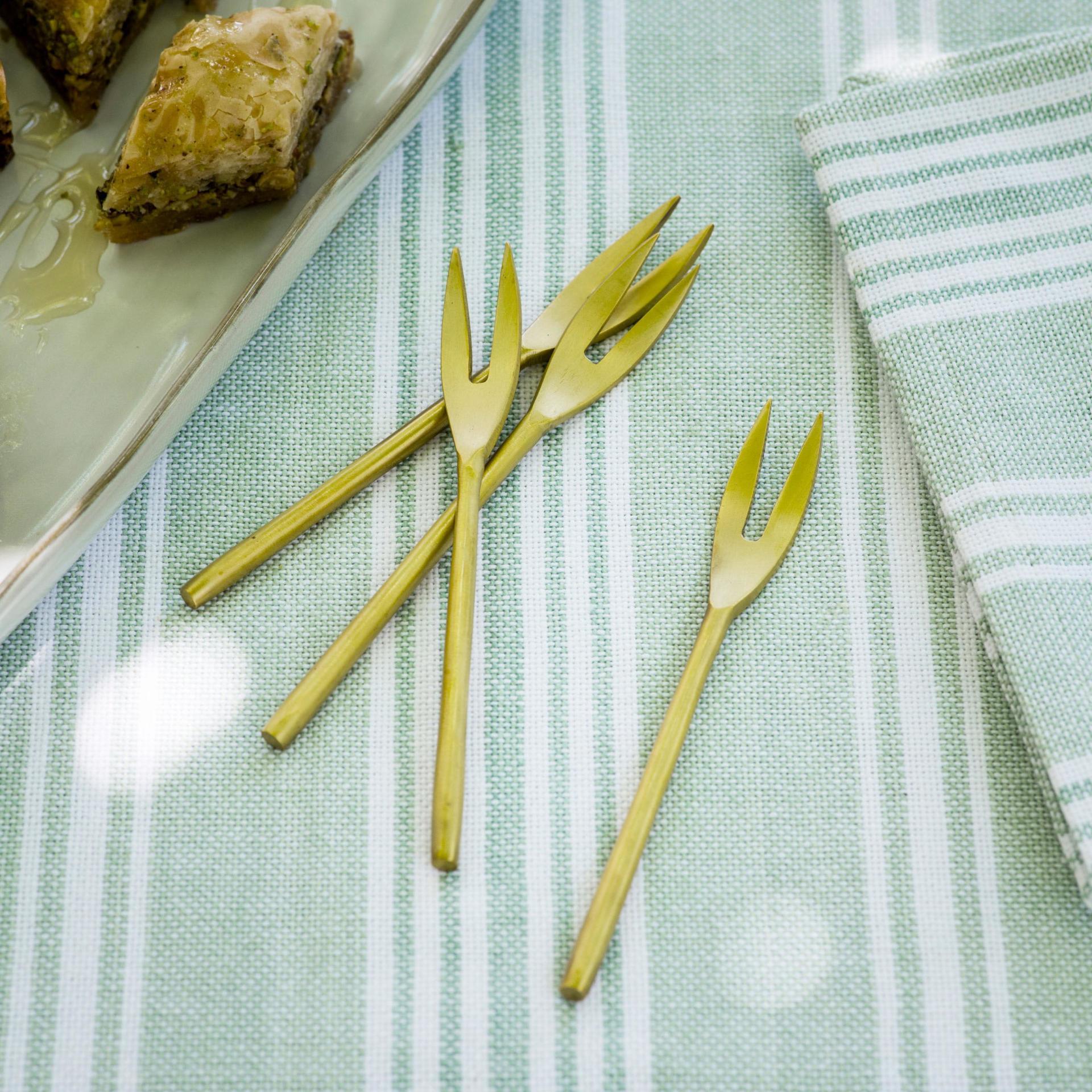 Garden Trading Mosazná mini vidlička Meze - set 4ks, zlatá barva, kov