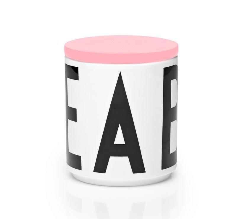 DESIGN LETTERS Dóza s dřevěným víčkem Letters Pink, růžová barva, bílá barva, dřevo, keramika