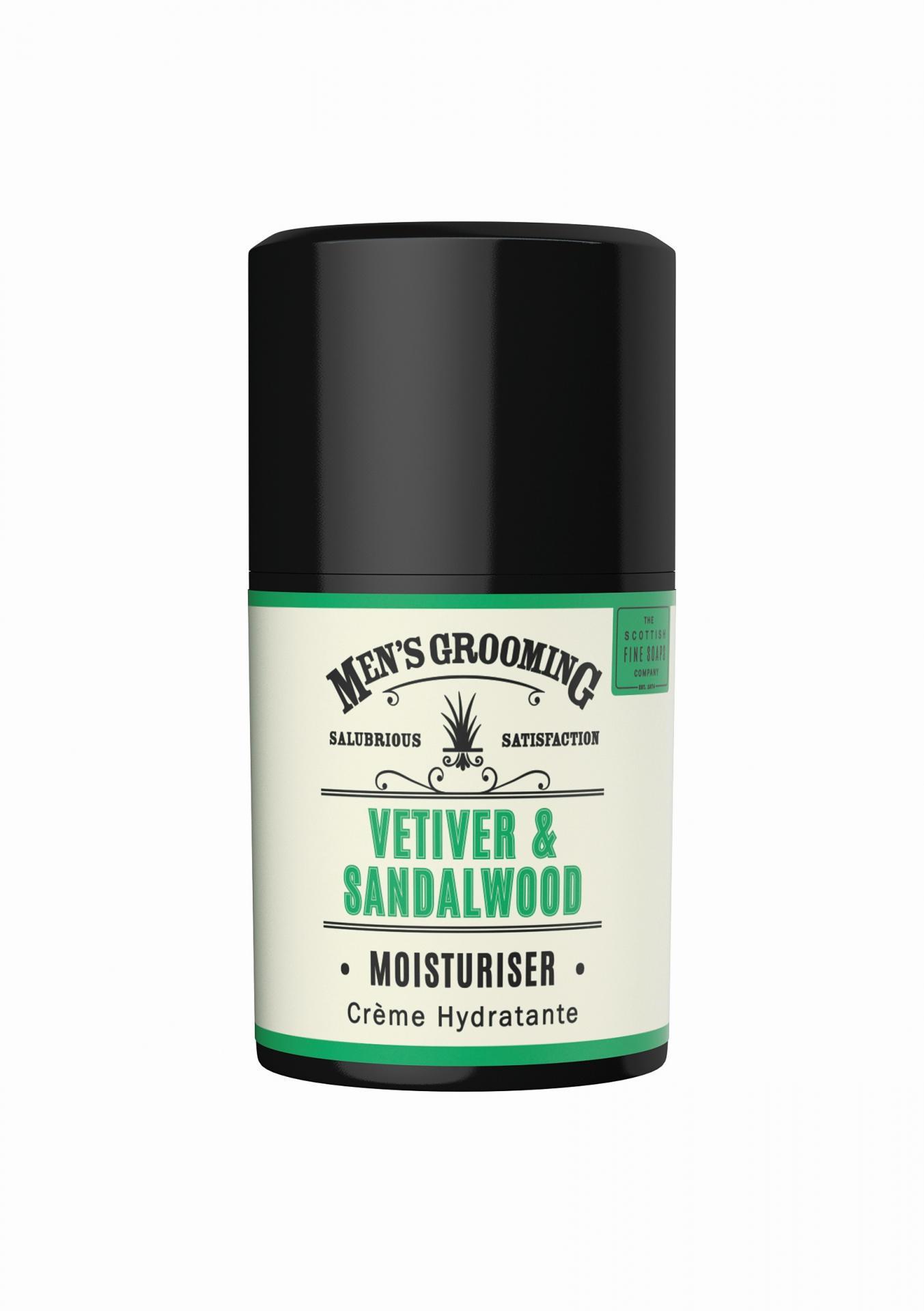 SCOTTISH FINE SOAPS Pánský hydratační pleťový krém Vetiver a santalové dřevo 50ml, zelená barva, pla