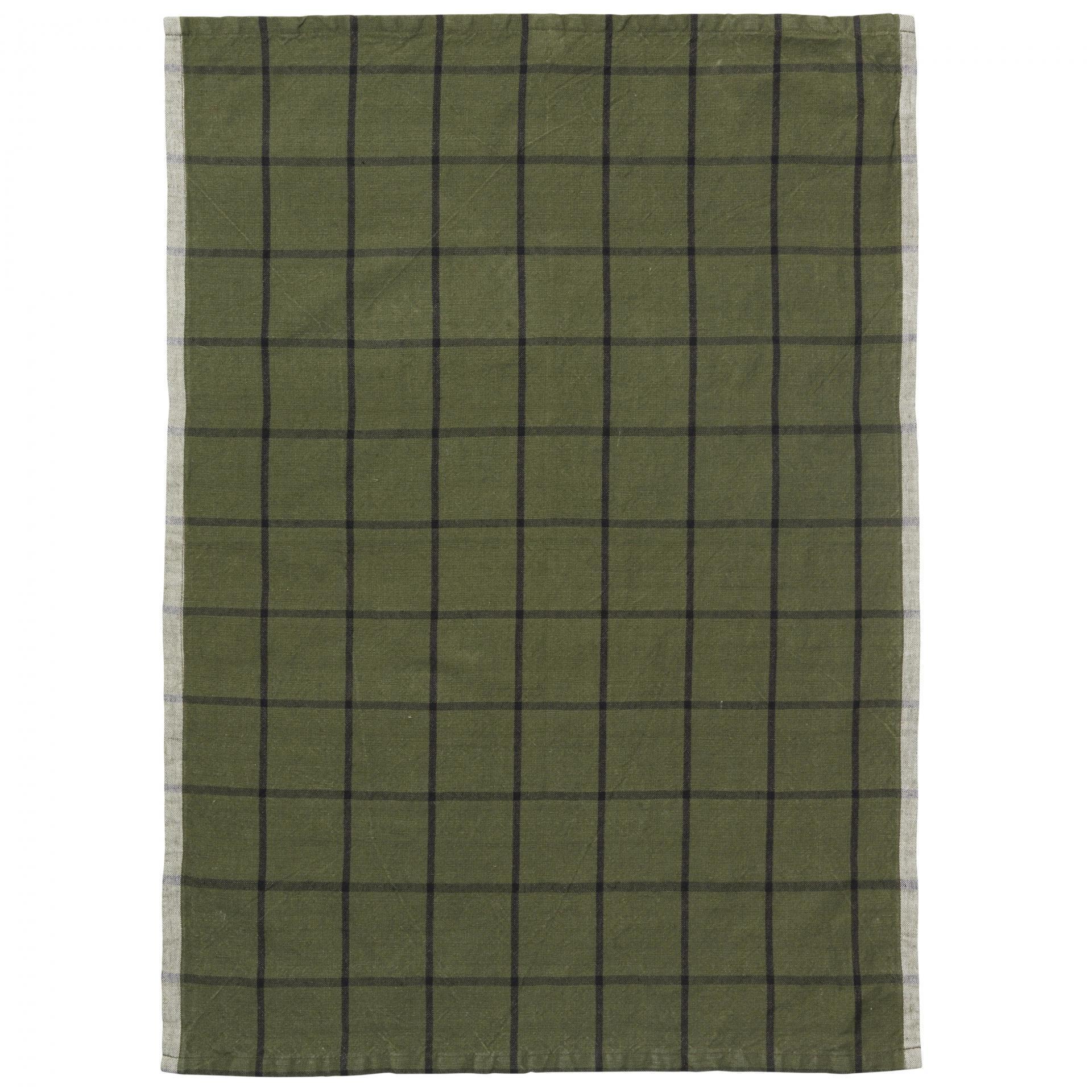 ferm LIVING Kuchyňská utěrka Hale Green/Black, zelená barva, textil