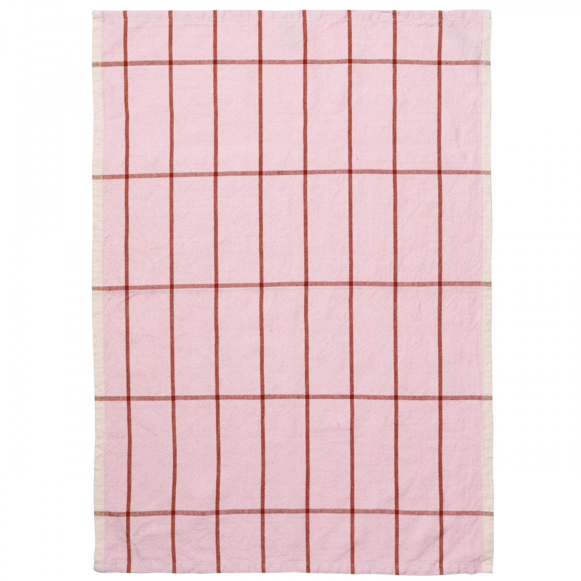 ferm LIVING Kuchyňská utěrka Hale Rose/Rust, růžová barva, textil