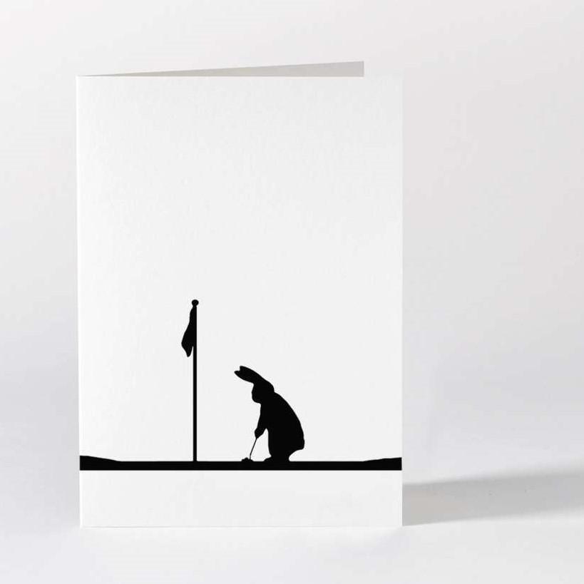 HAM Černobílé přání Golf Rabbit, černá barva, bílá barva, papír