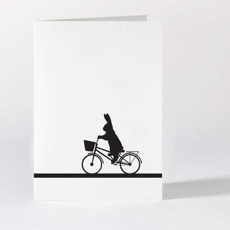 HAM Černobílé přání City Bike Rabbit, černá barva, bílá barva, papír