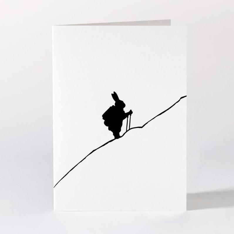 HAM Černobílé přání Hiking Rabbit, černá barva, bílá barva, papír