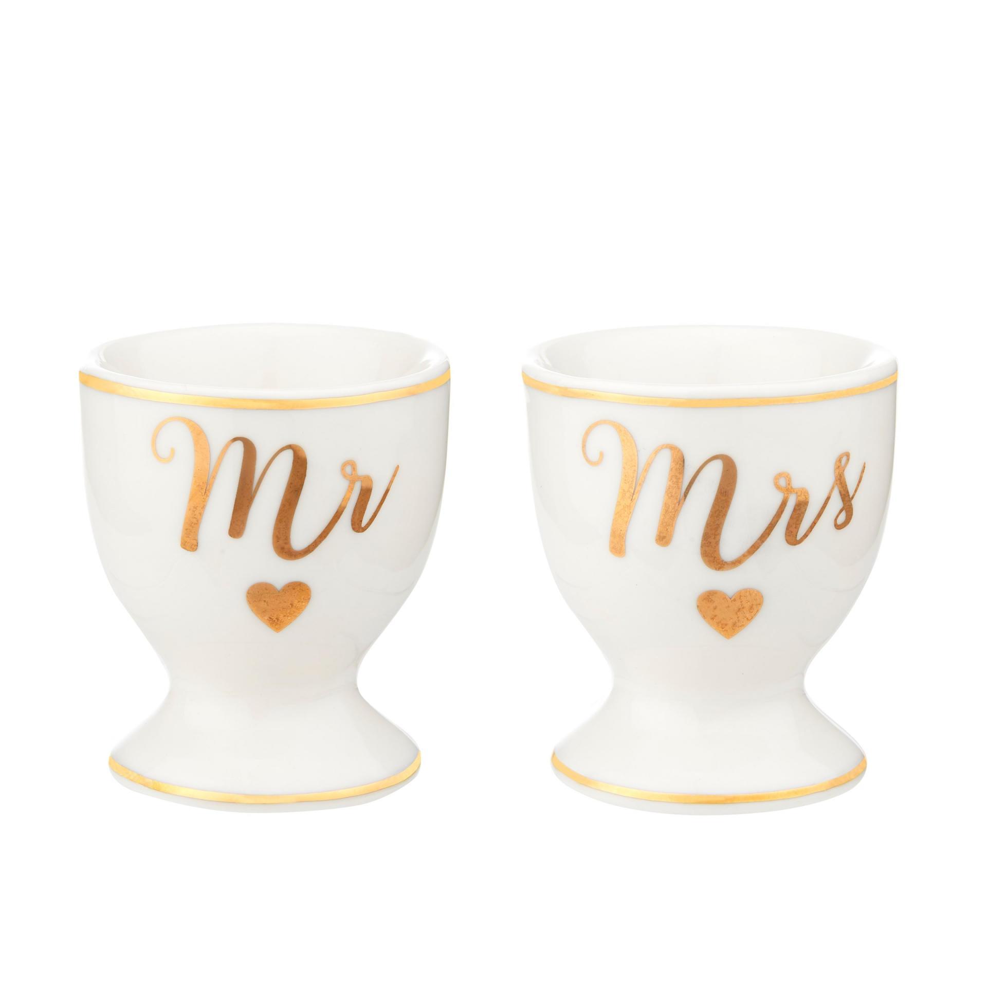 sass & belle Porcelánové stojánky na vejce Mr & Mrs, bílá barva, zlatá barva, porcelán