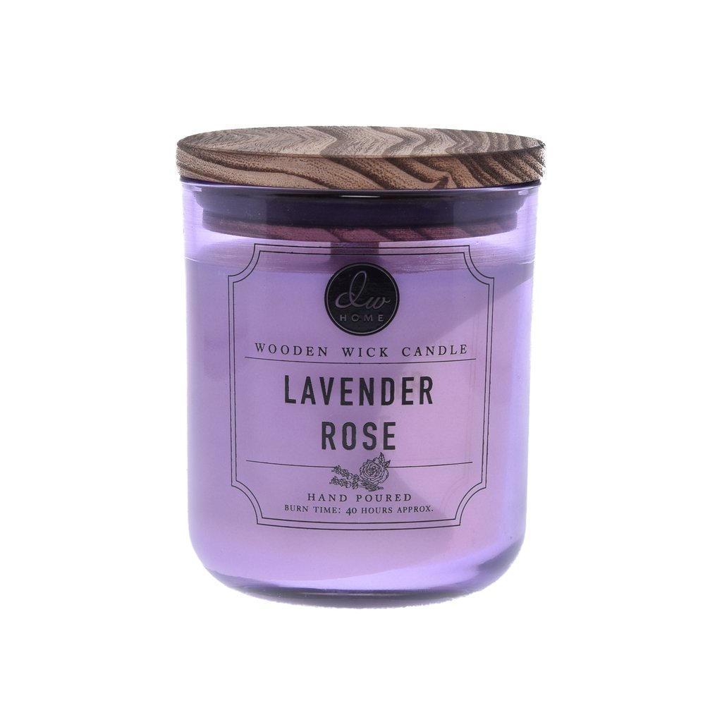 dw HOME Vonná svíčka Lavender Rose 320g, fialová barva, sklo, dřevo