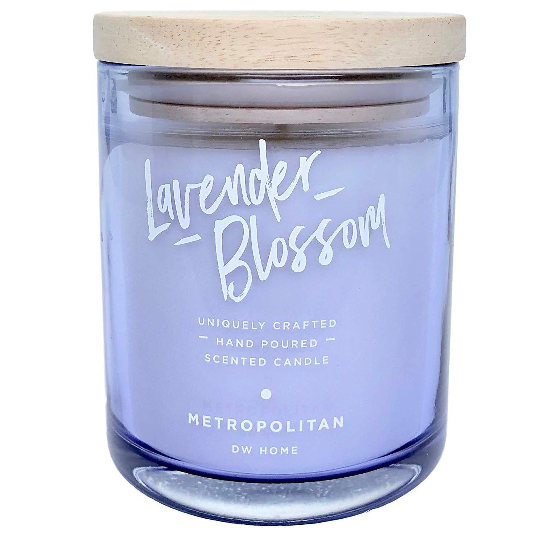 dw HOME Vonná svíčka Levandule a Eukalyptus 240g, fialová barva, sklo, dřevo