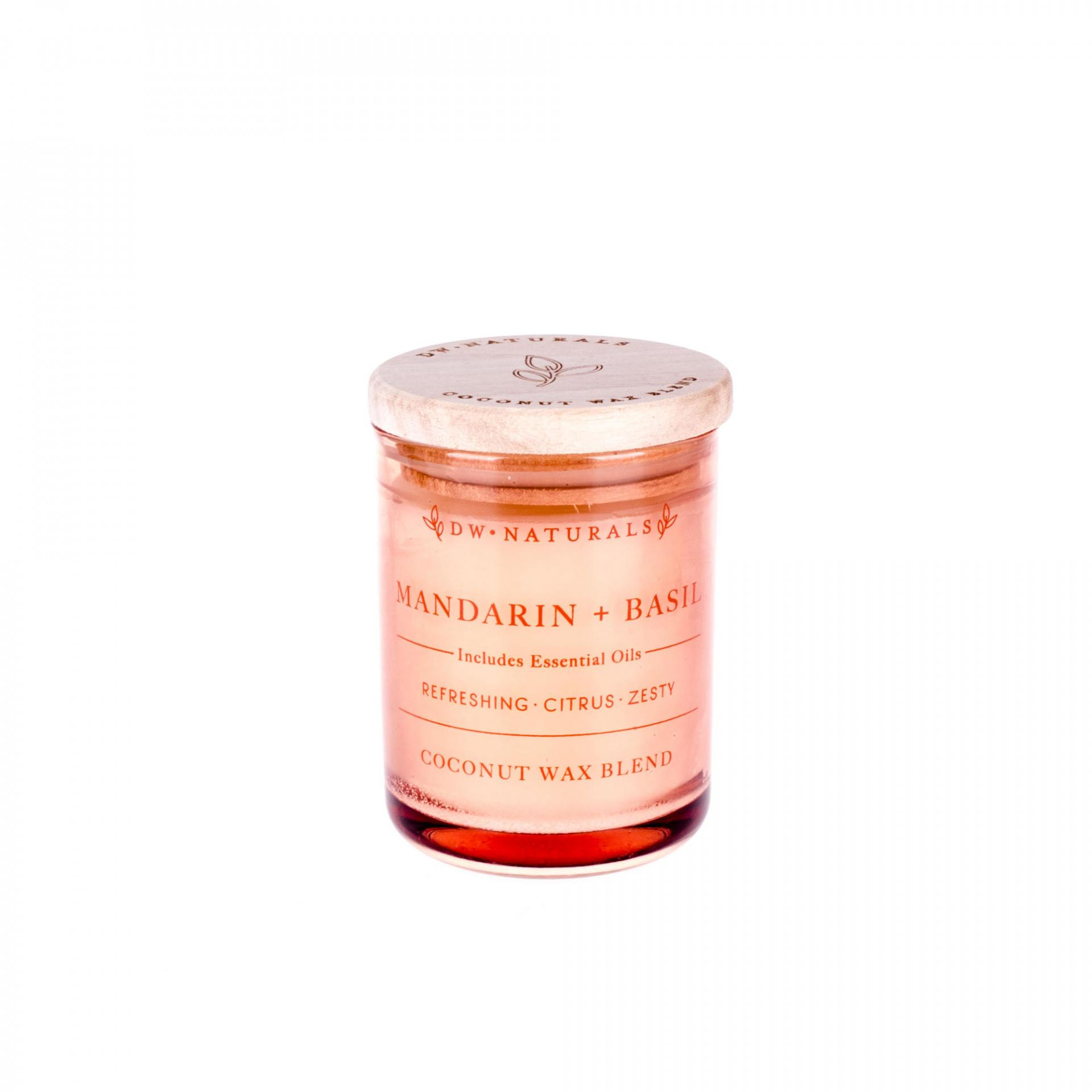 dw HOME Mini vonná svíčka Mandarinka s Bazalkou - 103gr, oranžová barva, sklo, dřevo