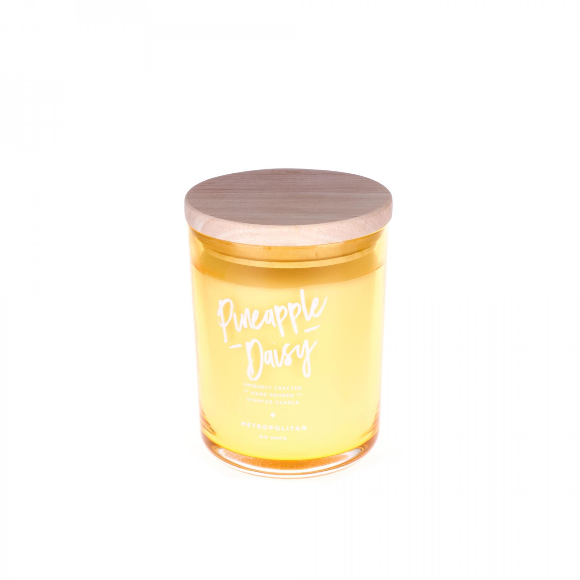 dw HOME Mini vonná svíčka Ananas a Sedmikráska - 105gr, žlutá barva, sklo, dřevo