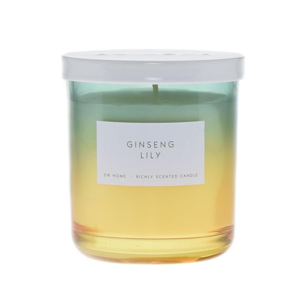 dw HOME Vonná svíčka Ženšen a Lilie 240g, zelená barva, žlutá barva, sklo