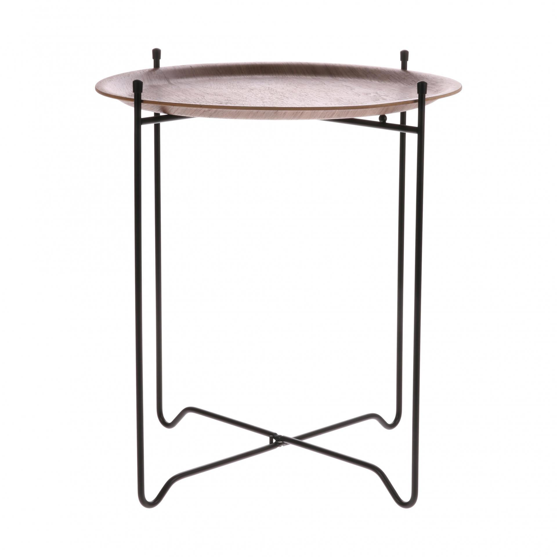 HK living Odkládací stoleček Willow Wood ⌀ 43,5 cm, černá barva, hnědá barva, dřevo, kov