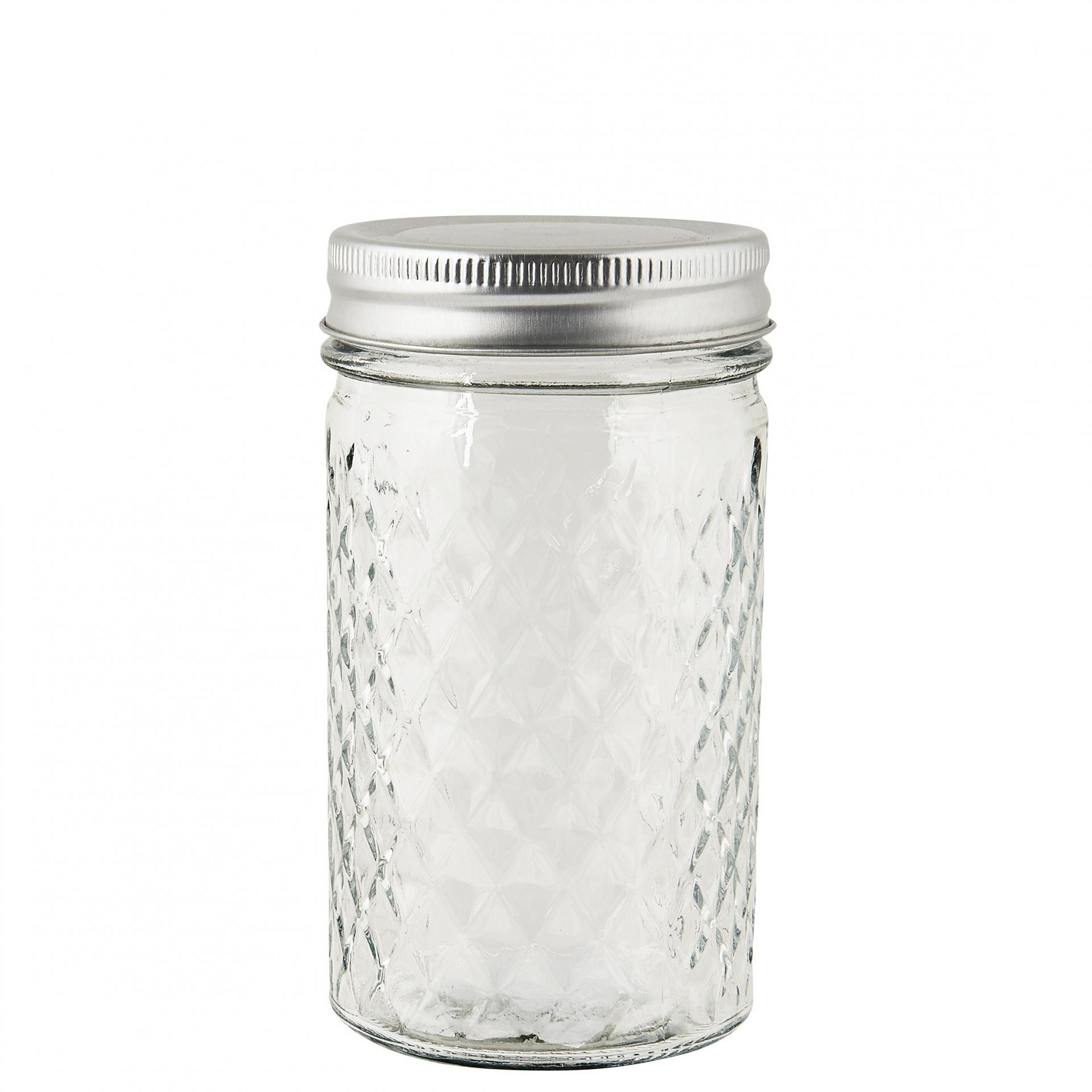IB LAURSEN Skleněná dózička Harlequin 300 ml, stříbrná barva, čirá barva, sklo