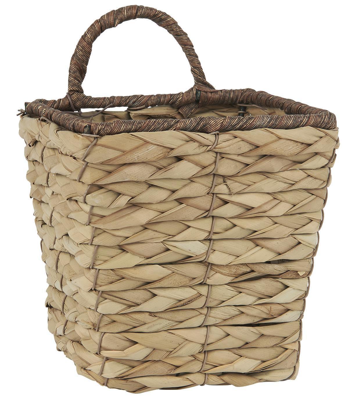 IB LAURSEN Závěsný košíček Rectangular Basket, přírodní barva, dřevo, kov, proutí