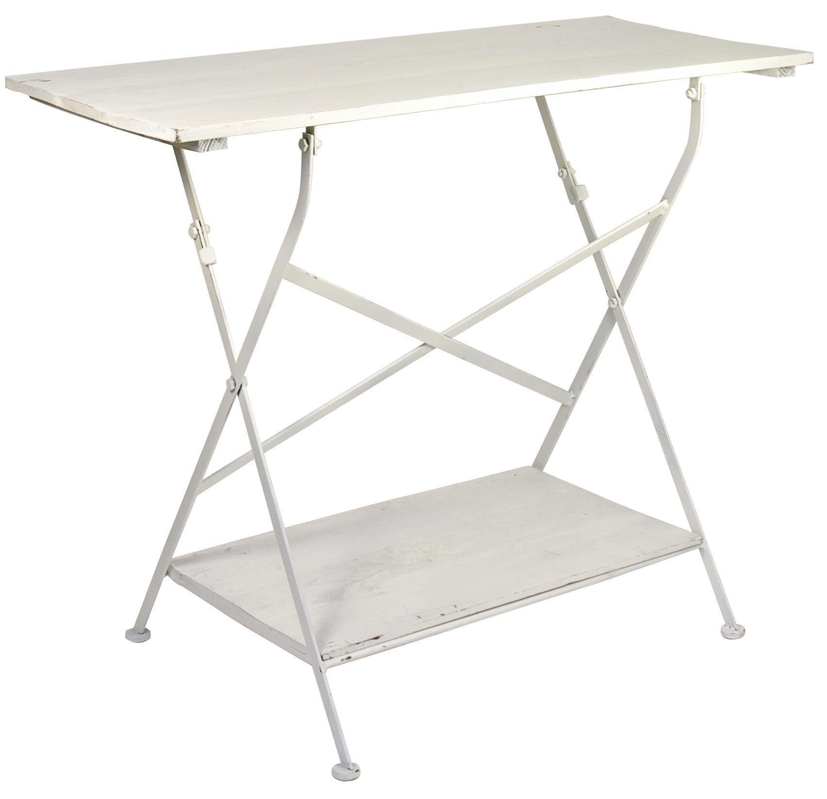 IB LAURSEN Dřevěný stolek s poličkou - bílý, bílá barva, dřevo
