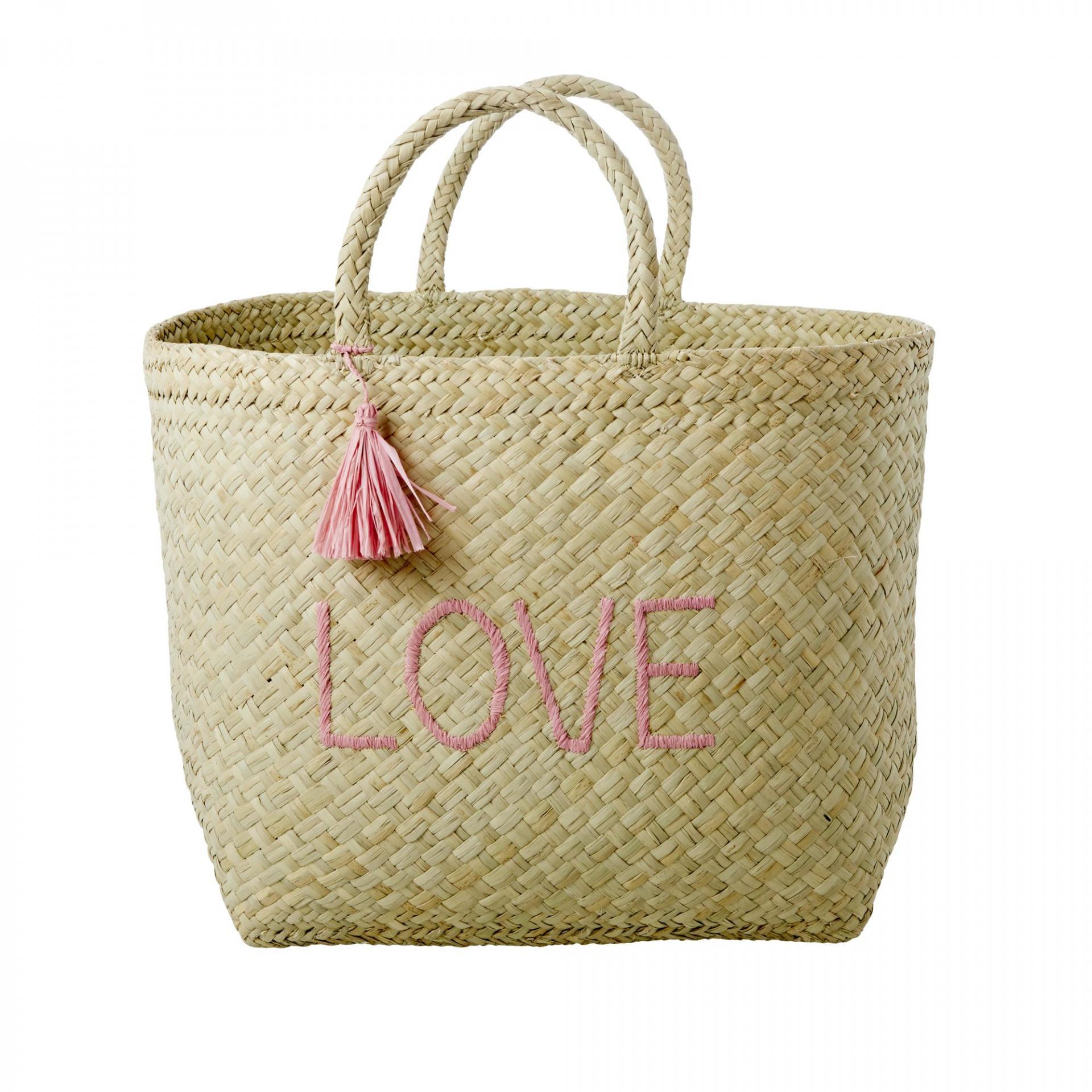rice Ručně pletená nákupní taška Raffia Love, zelená barva, žlutá barva
