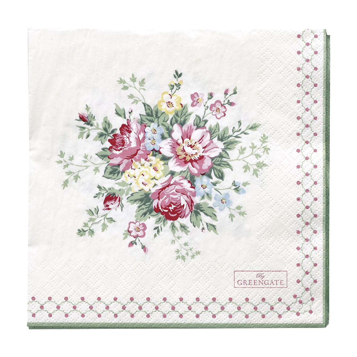 GREEN GATE Papírové ubrousky Aurelia White, růžová barva, zelená barva, papír