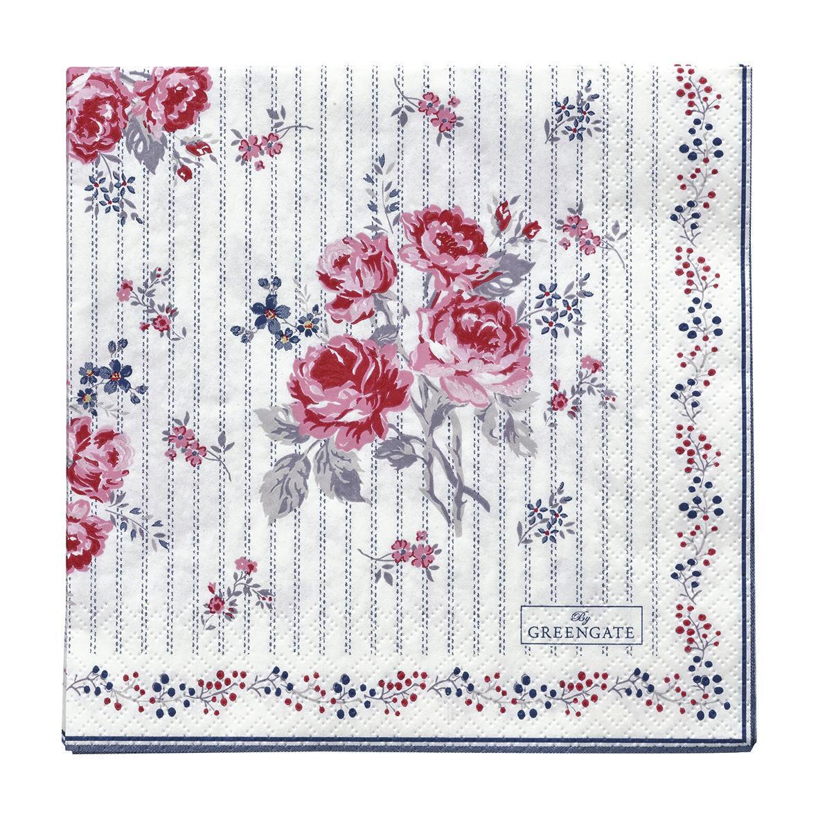 GREEN GATE Papírové ubrousky Elisabeth White, růžová barva, modrá barva, papír