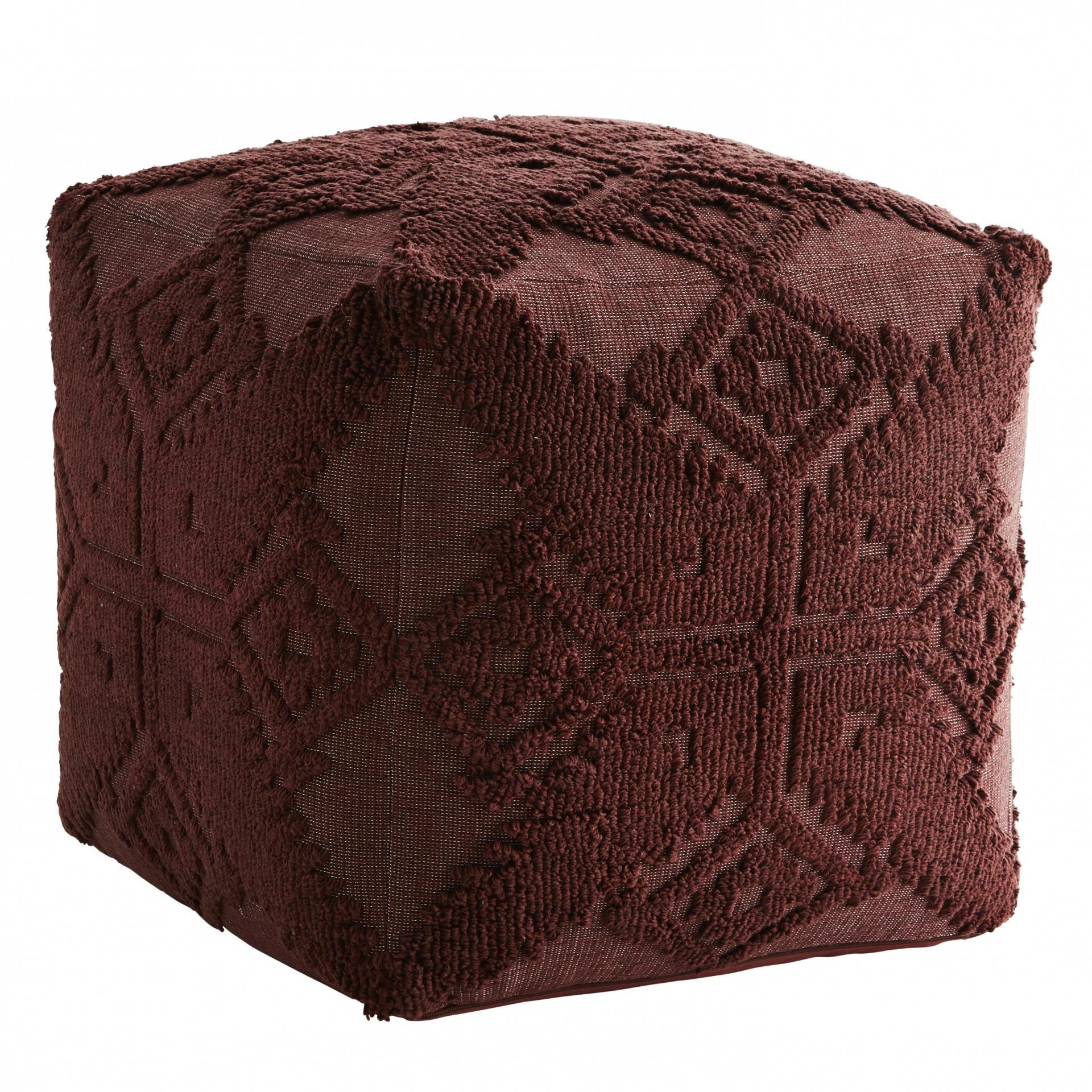 MADAM STOLTZ Taburet Ruby Wine, červená barva, textil