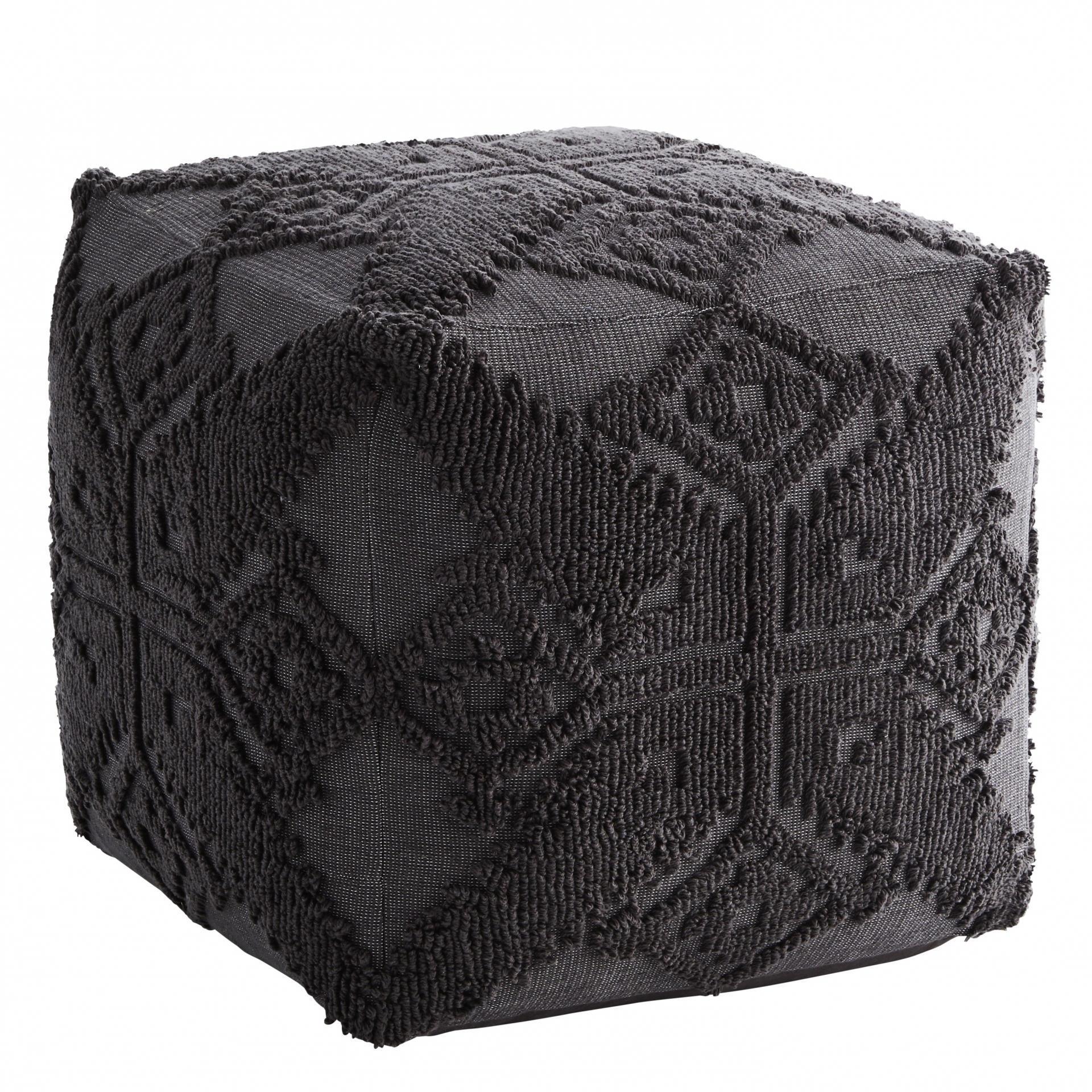 MADAM STOLTZ Taburet Anthracite, šedá barva, textil