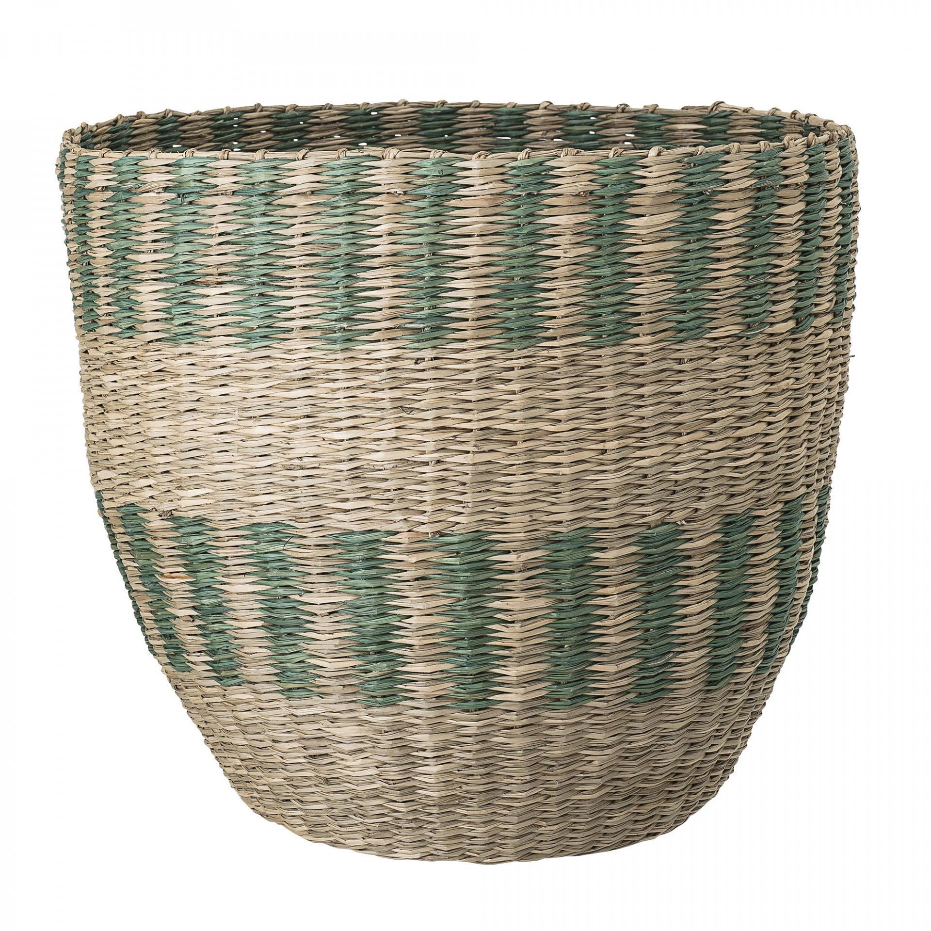 Bloomingville Úložný koš z mořské trávy Nature/Green, zelená barva, přírodní barva, proutí